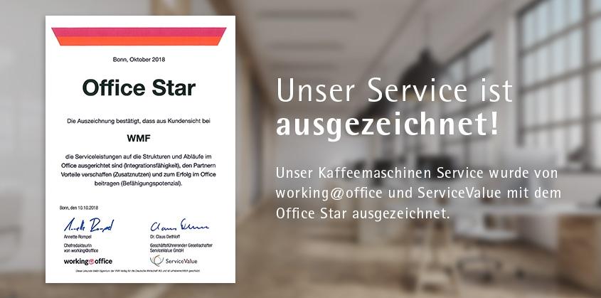 Unser Service ist ausgezeichnet! Unser Kaffeemaschinen Service wurde von  working@office und ServiceValue mit dem  Office Star ausgezeichnet.